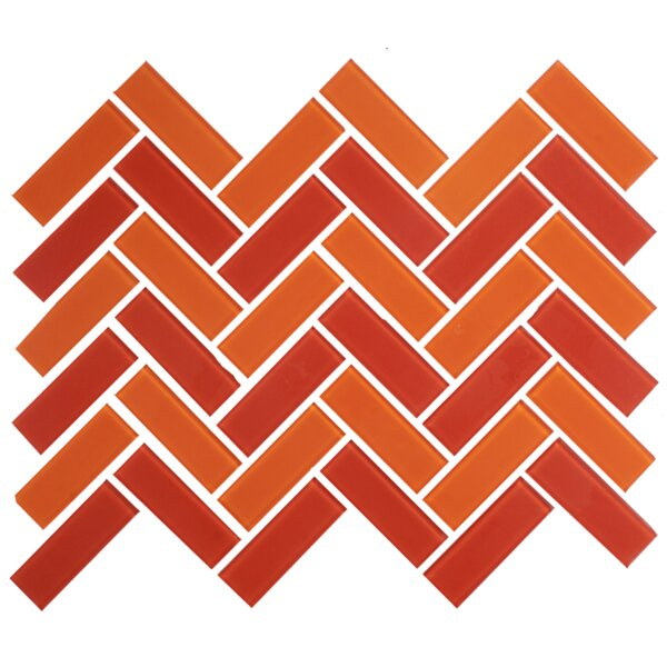 Signature Line Herringbone Tango 1 x 3 Glass Subway Tile in Orange/Red by Susan Jablon