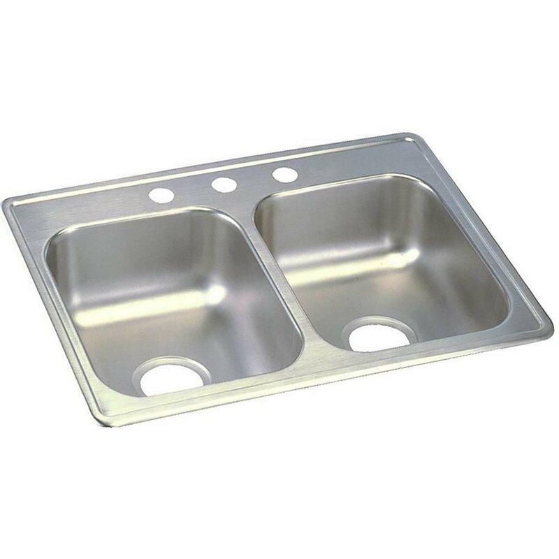 dayton 25   x 19   double basin top mount kitchen sink elkay dayton 25   x 19   double basin top mount kitchen sink      rh   wayfair com
