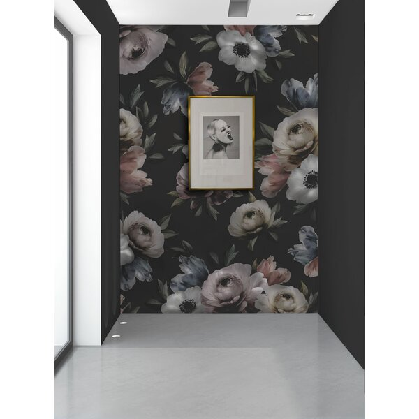 Huron Midnight Floral 4 Panel Wall Mural by Rosdorf Park