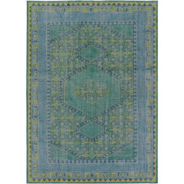 Blackshear Hand-Knotted Teal Area Rug by Bungalow Rose