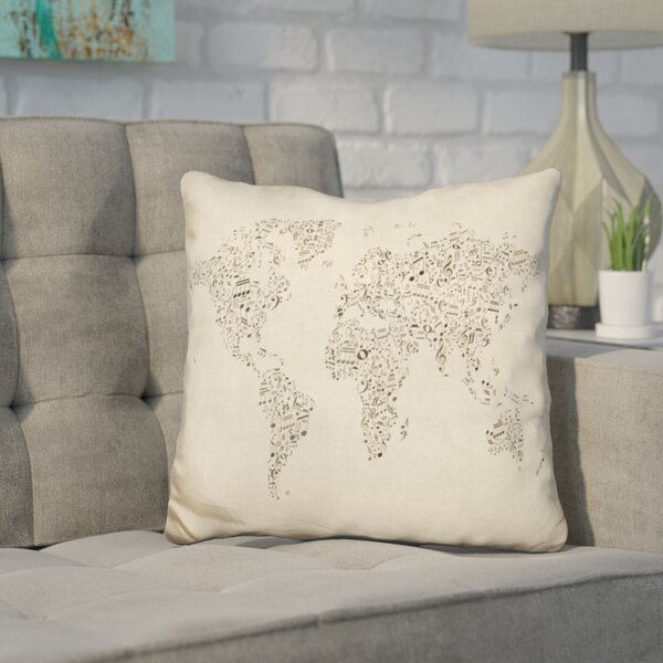 Corlew World Map Music Notes Color Throw Pillow by Wrought Studio
