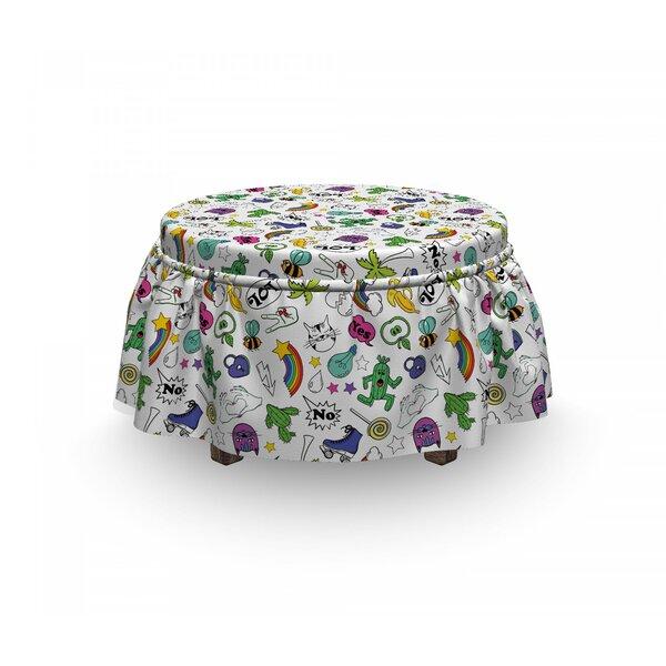 Emoji 80's Comic Set 2 Piece Box Cushion Ottoman Slipcover Set By East Urban Home
