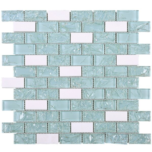 Crushed 1 x 2 Mixed Material Tile in Blue by Multile