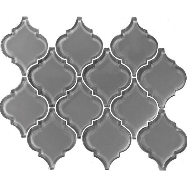 Metro Big Lantern Arabesque 15.63 x 12.25 Glass Subway Tile in Gray by Abolos