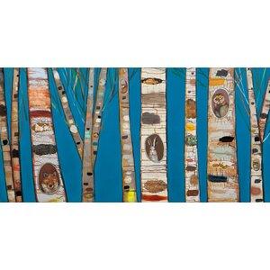 'Blue Birch Trees' by Eli Halpin Painting Print on Canvas by GreenBox Art