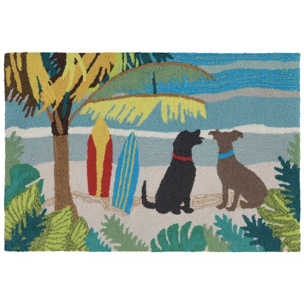 Maybeck Dog Beach Hand-Tufted Blue/Green Indoor/Outdoor Area Rug by Bay Isle Home