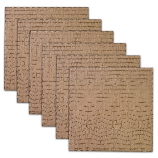 Damiana Crocodile Square Faux Leather Placemat (Set of 6) by Bloomsbury Market