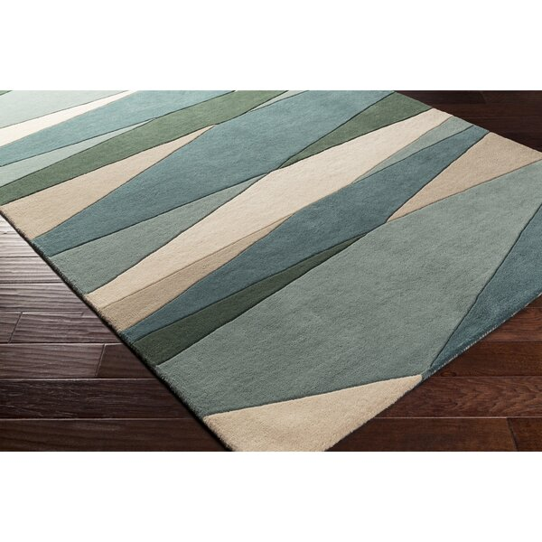 Dewald Hand-Tufted Dark Green Area Rug by Ebern Designs