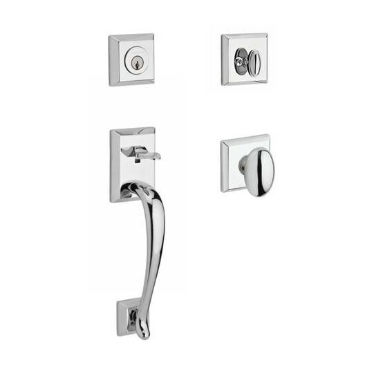 Napa Single Cylinder Handleset with Ellipse Door Knob and Traditional Square Rose by Baldwin
