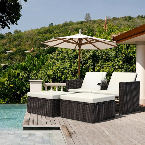 Adabpreet Sun Lounger Set with Cushions and Table