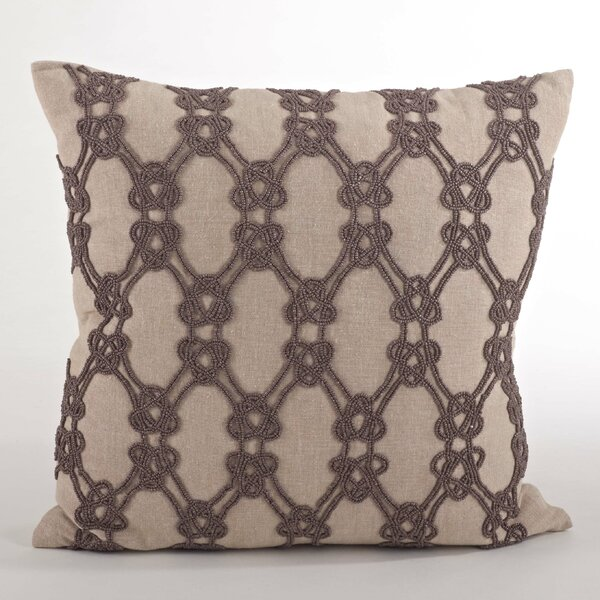 Ganda Beaded Knotted Design Throw Pillow by Saro
