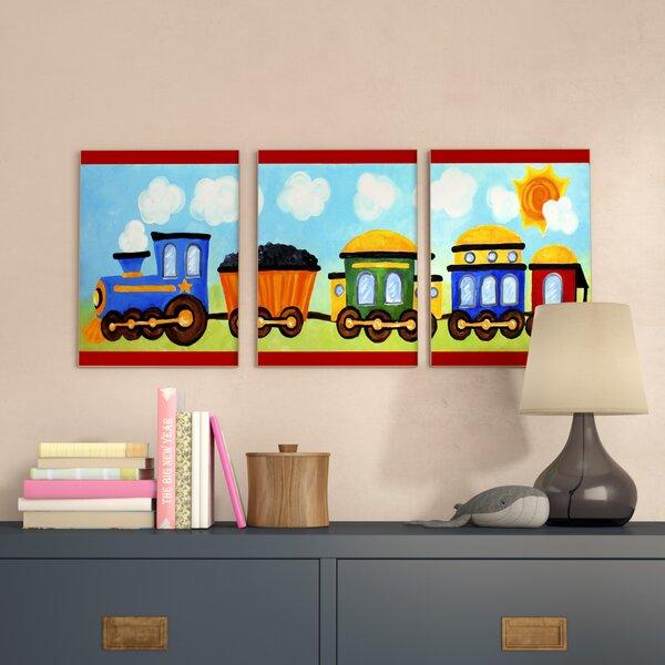 Elektra Choo Choo Train In The Sun Triptych 3 Piece Wall Plaque Set by Zoomie Kids