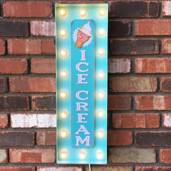 Vintage Inspired Ice Cream Marquee Sign by Latitude Run