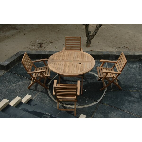Farnam 5 Piece Teak Wood Dining Set by Rosecliff Heights
