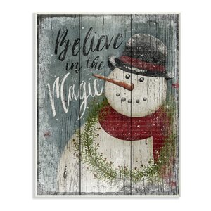 'Believe in Magic Snowman' Graphic Art Print by Three Posts