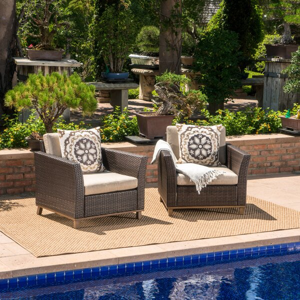 Schnabel Outdoor Wicker Club Patio Chair with Cushions (Set of 2) by Latitude Run