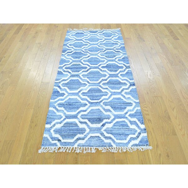 One-of-a-Kind Brad Denim Jeans Handmade Kilim Blue Wool Area Rug by Isabelline