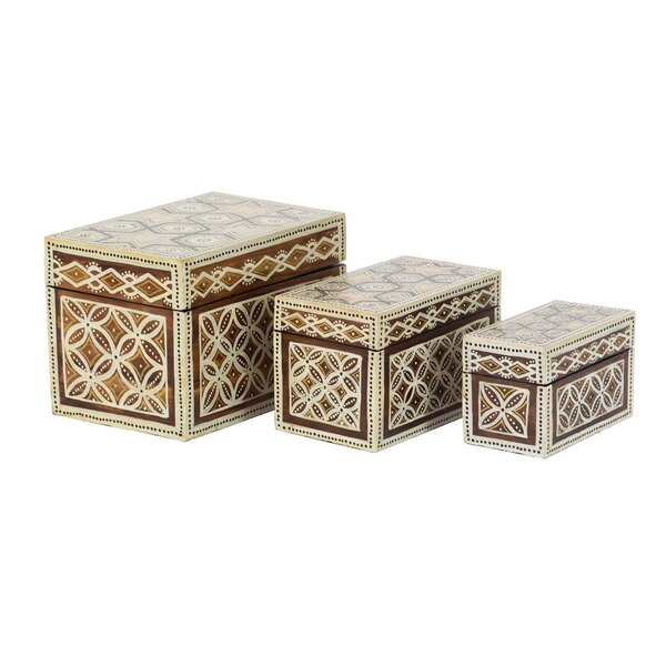 Cedardale Traditional Star Floral Batik Design 3 Piece Decorative Box Set with Lid by Bloomsbury Market