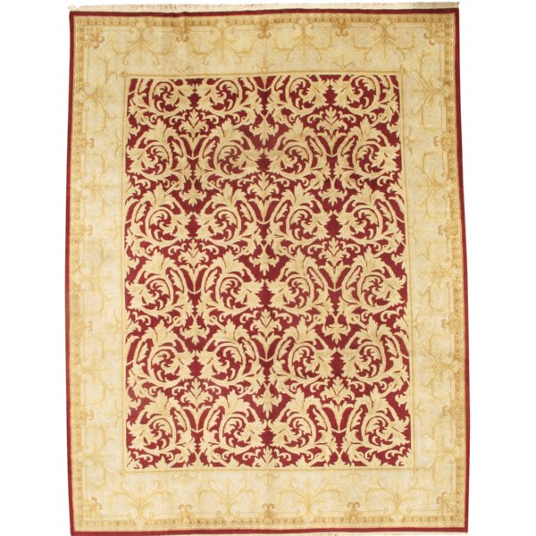 Indo Mahal Design Hand Knotted Wool Red Area Rug