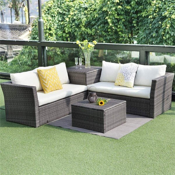 Adrith Patio 4 Piece Rattan Sofa Seating Group with Cushions by Latitude Run