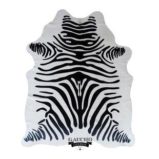 Compare Reigate Stenciled Zebra Black/White Cowhide Area Rug ByWorld Menagerie