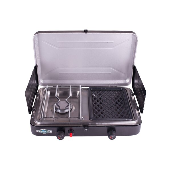 Portable 2-Burner Propane Grill and Stove Combo by Stansport