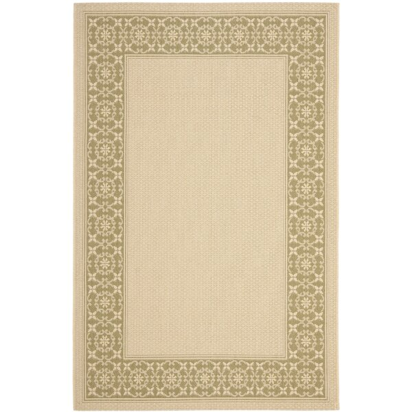 Amaryllis Cream/Green Floral Indoor/Outdoor Rug by Bay Isle Home