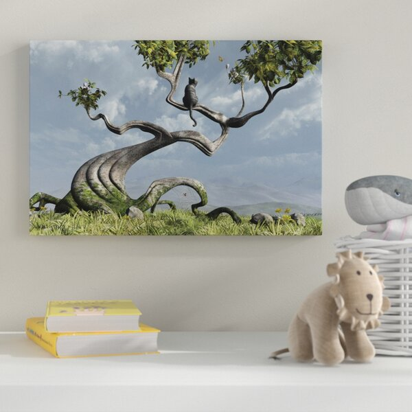 Sitting Tree Graphic Art on Wrapped Canvas by Zoomie Kids