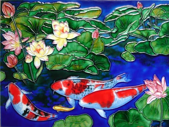 Koi Pond with Dark Blue Tile Wall Decor by Continental Art Center