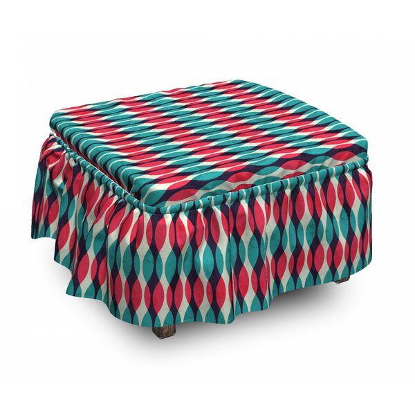Grunge Curves Ottoman Slipcover (Set Of 2) By East Urban Home