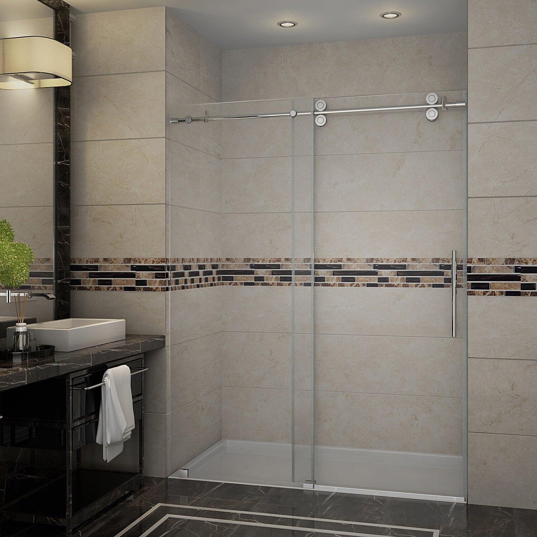 Langham 60 X 75 Single Sliding Completely Frameless Shower Door