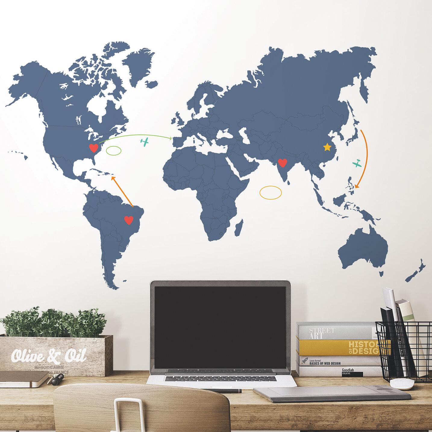 WallPops Destination World Map Wall Decal