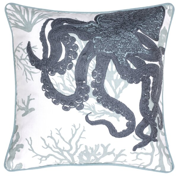 Octopus Crewel Stitch Cotton Throw Pillow by 14 Karat Home Inc.