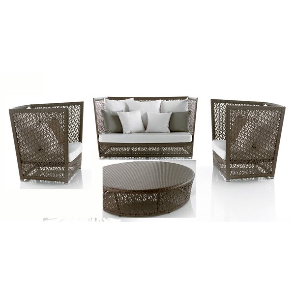 Maldives 4 Piece Rattan Sunbrella Sofa Seating Group with Cushions (Set of 4) by Panama Jack Outdoor