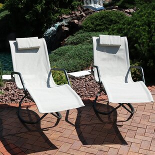 Chagford Folding Lounger Rocking Chair with Cushions (Set of 2) Ebern Designs