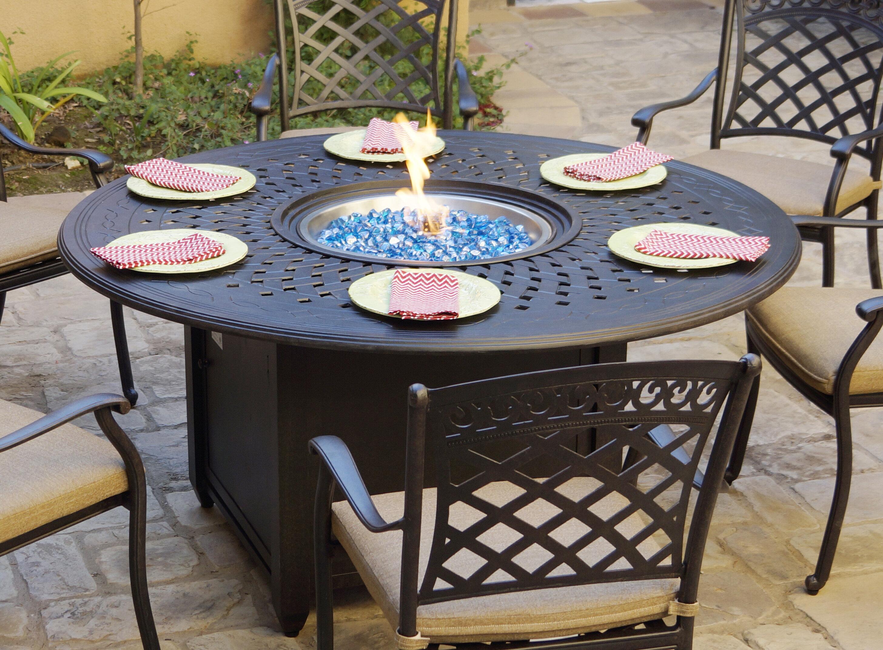 Image of: Fleur De Lis Living Slavens Patio Dining 60 Round Aluminum Propane Fire Pit Reviews Wayfair