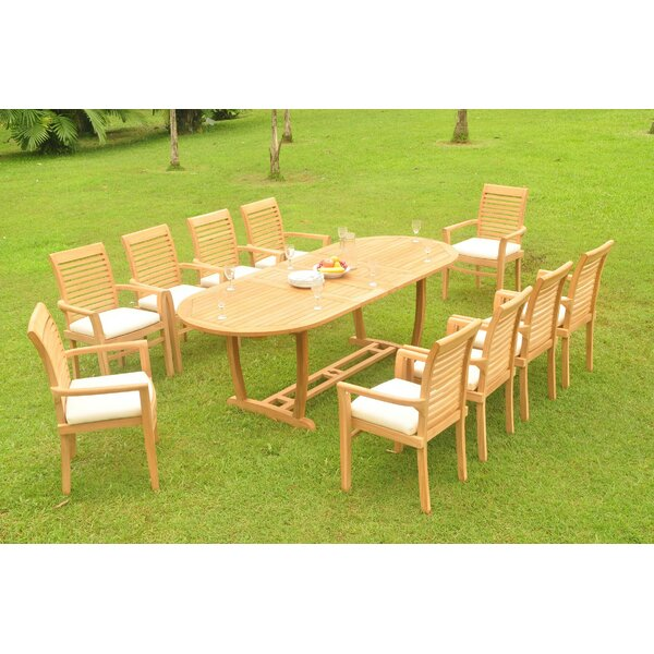 Fargo Luxurious 11 Piece Teak Dining Set by Rosecliff Heights