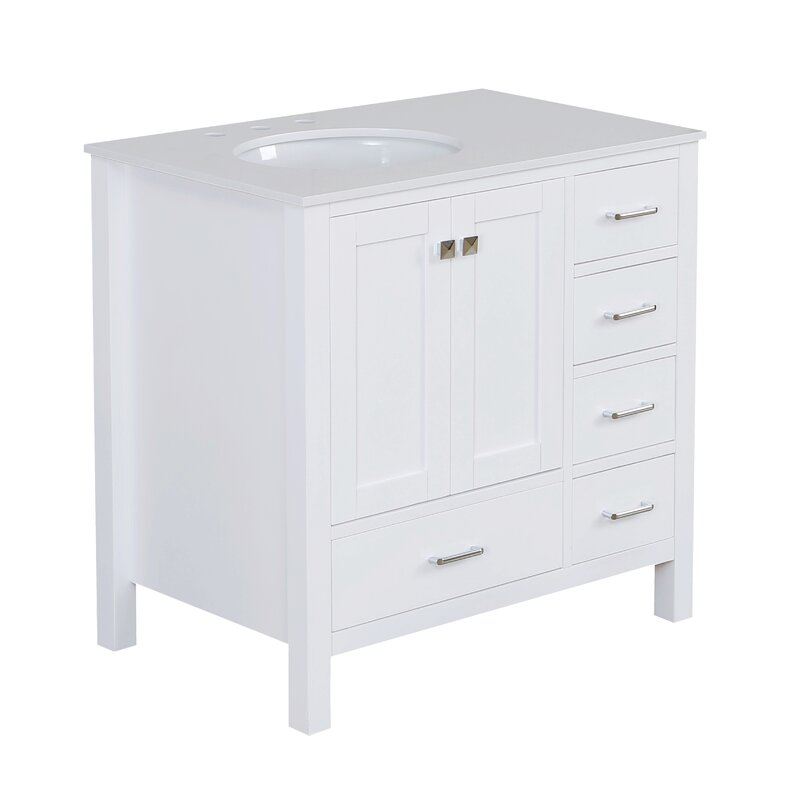 With Side Cabinet 36 Inch Goodyo Vanity Small Bathroom Vanity Cabinet Combo Set Gray