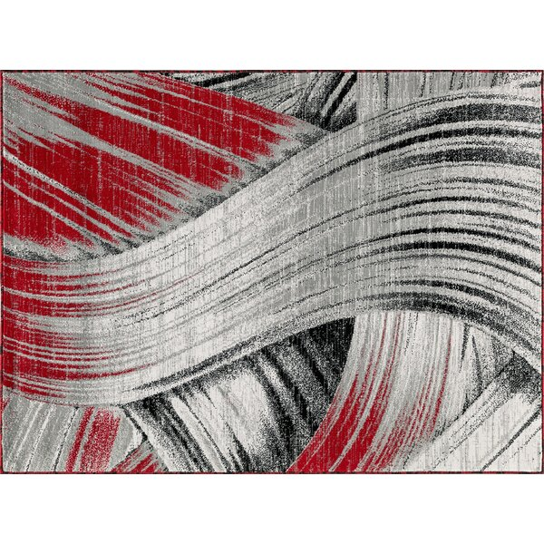 Barstis Gray/Red Area Rug by Ebern Designs