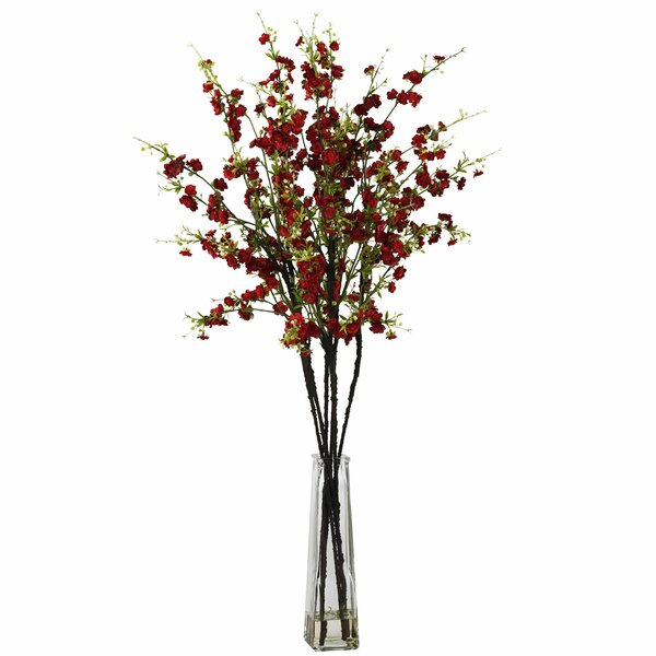 Cherry Blossoms with Vase Silk Flower Arrangement in Red by Nearly Natural