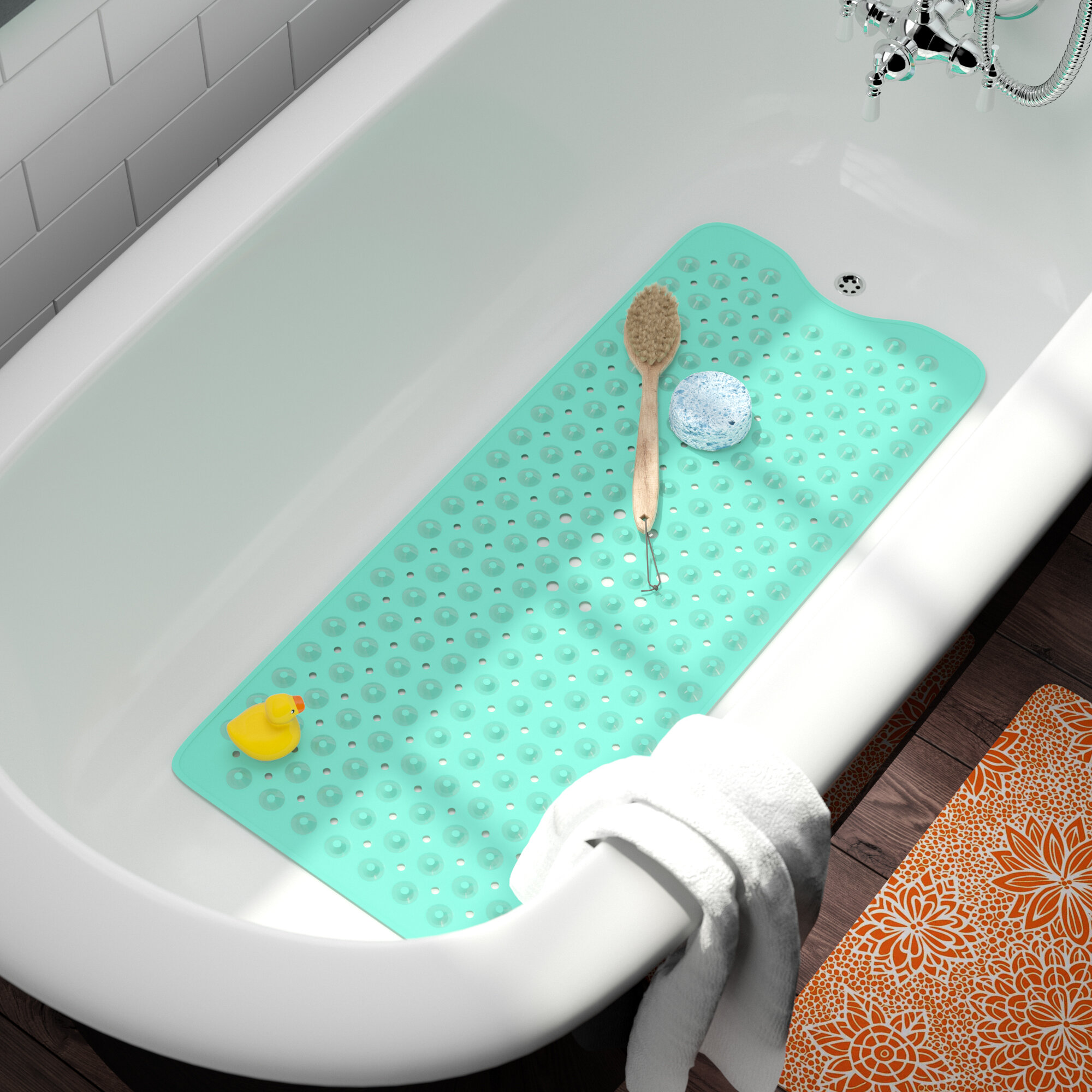 Ebern Designs Nakagawa Large Vinyl Bathtub Mat & Reviews | Wayfair