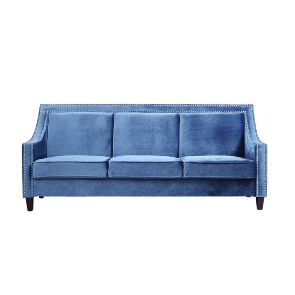 Trista Nailhead Trim Wood Legs Couch Sofa by House of Hampton