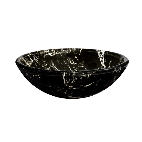 Pallina Glass Circular Vessel Bathroom Sink by Novatto