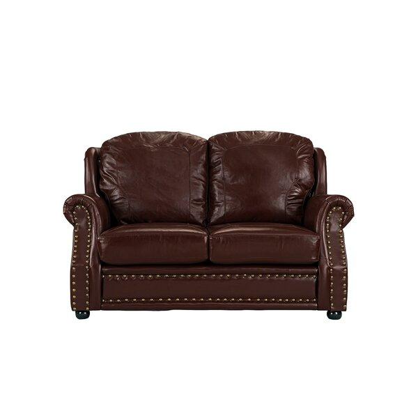 Hinton Charterhouse Leather Loveseat by Williston Forge