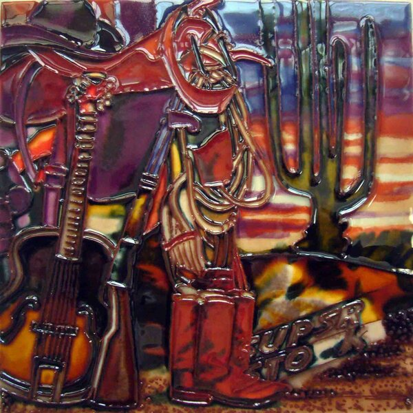 Cowboy Boots Guitar Gun Tile Wall Decor by Continental Art Center