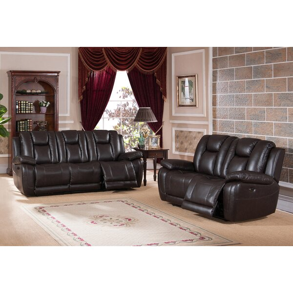 Mickey Reclining 2 Piece Leather Living Room Set by Red Barrel Studio