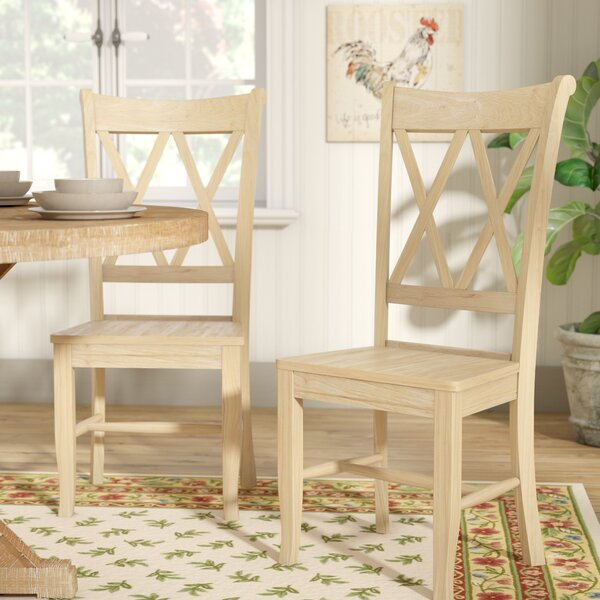 Lynn Cross Back Solid Wood Dining Chair (Set of 2) by Mistana