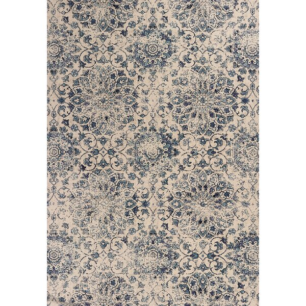 Crozier Mosaic Ivory/Blue Area Rug by Bungalow Rose