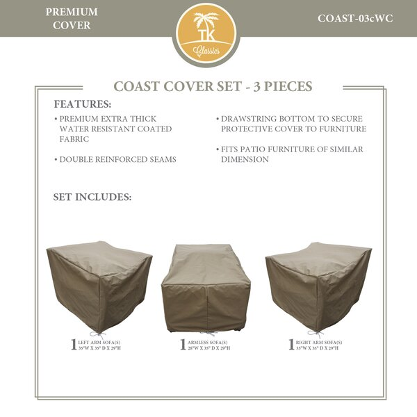 Coast Protective 3 Piece Water Resistant Patio Furniture Cover Set by TK Classics