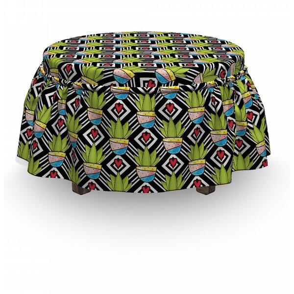 Cactus Plants Pots Love 2 Piece Box Cushion Ottoman Slipcover Set By East Urban Home